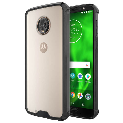Hybrid Acrylic Hard Back Case for Motorola Moto G6 - Black / Clear